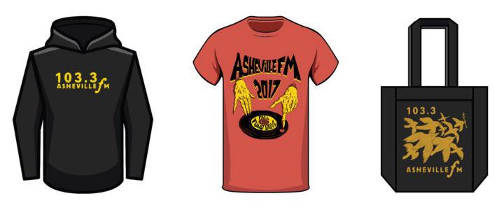 L to R: Logo Hoodie; Fall Fund Drive T-shirt; Tote Bag