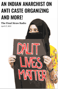"""zine cover for this episode's transcription featuring a person holding a """"Dalit Lives Matter"""" sign"""