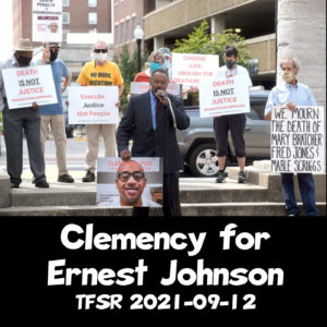 """""""Clemency for Ernest Johnson"""" picturing a protest at Boone County courthouse"""