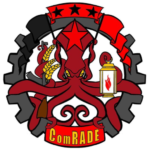 """""""Comrade Squid"""" color logo with a squid holding a lamp, sheaths of grain, an AK-47, red and black stars and flags and a large cog in the background"""